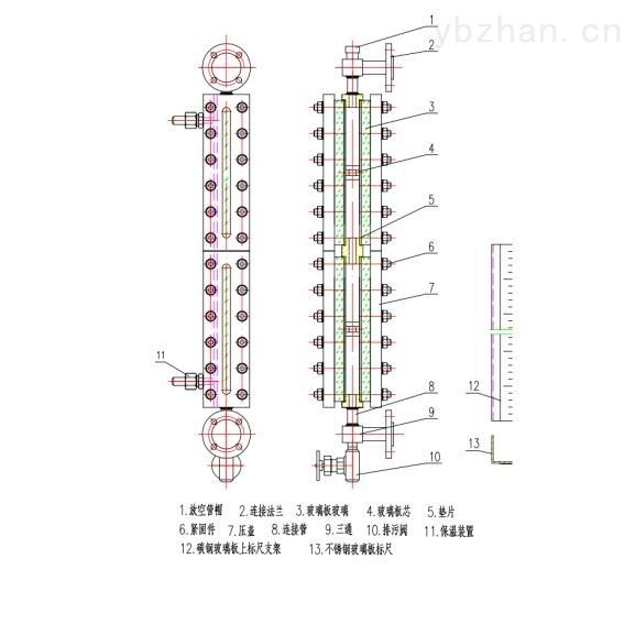 山东 大通径玻璃板液位计 支持定制