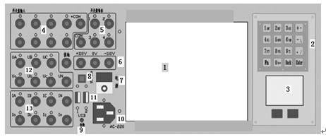 微机继电保护测试仪面板图