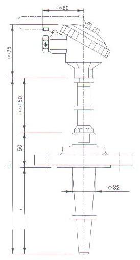 锥形管法兰连接热电偶(热电阻)产品结构图
