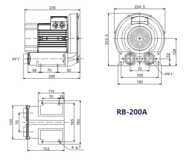 RB-200A风机,RB-200-0.2KW高压风机,0.2千瓦环形高压鼓风机示例图1